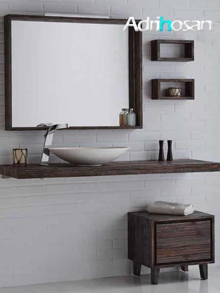 Encimeras de madera de Nogal natural cepillado para el cuarto de baño.