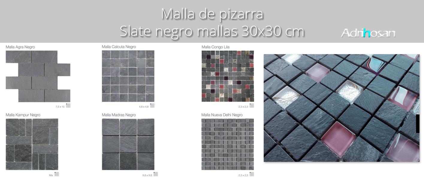 Malla de pizarra Slate negro 30×30 cm. Malla de piedra natural ideal para decoraciones de platos de ducha y exteriores, mezclada con cristal.