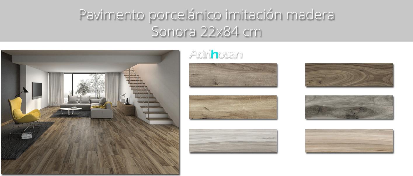 Pavimento porcelánico Sonora beige 22x84 cm imitación madera
