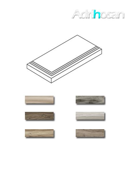 Peldaño técnico angular porcelánico Sonora 22x84 ó 22x60 cm imitación madera