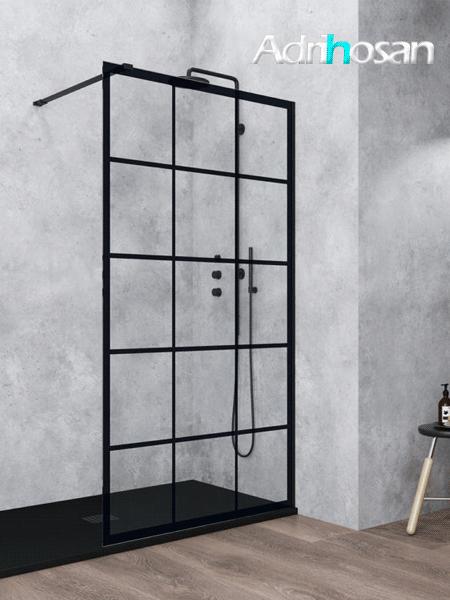 Fijo de ducha Aiki decorado palillería negro de 6 mm de 80 a 120 cm con antical