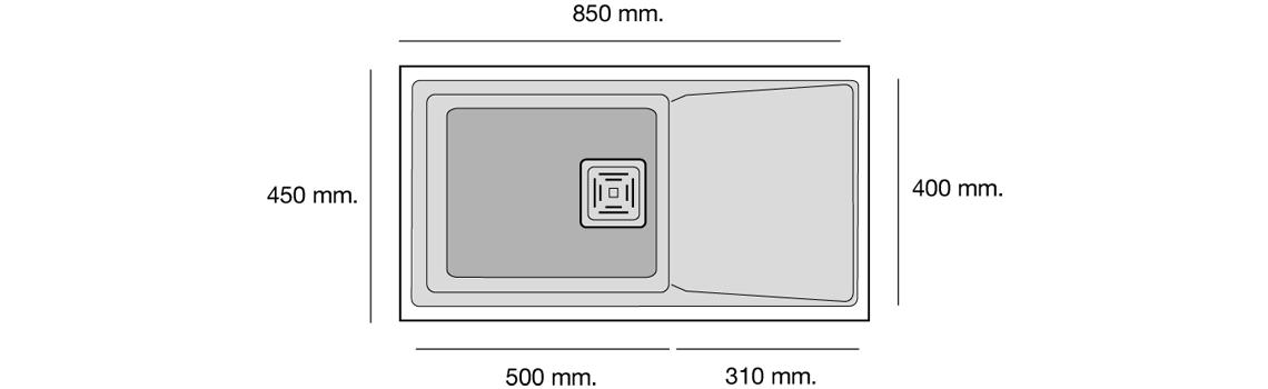 Fregadero de fibra Zie 45 1 cubeta + escurridera brillo bajo encimera Poalgi