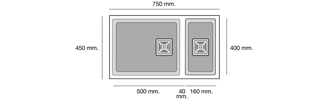Fregadero de fibra Zie 70 1 cubeta y media bajo encimera Poalgi | Adrihosan