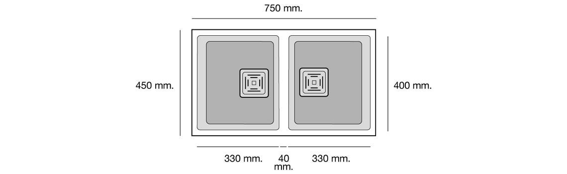 Fregadero de fibra Zie 70 1 cubeta y medida brillo bajo encimera Poalgi