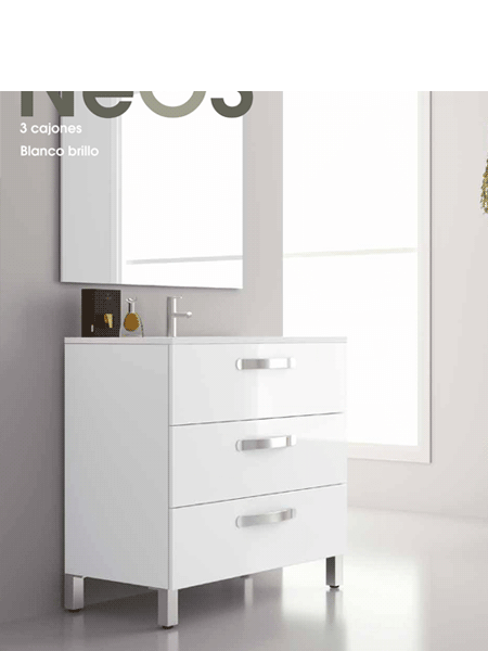 Mueble de baño a suelo 3 cajones Neos (mueble + lavabo + espejo)