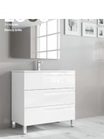 Mueble de baño a suelo 3 cajones Zeus (mueble + lavabo + espejo)
