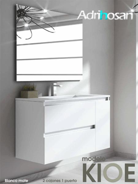 Mueble de baño suspendido 2 cajones 1 puerta Kloe (mueble + lavabo + espejo)