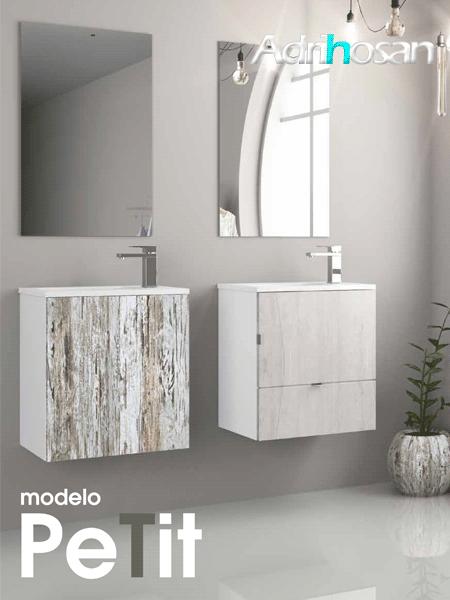 Mueble de baño suspendido Petit 50 cm (mueble + lavabo + espejo)