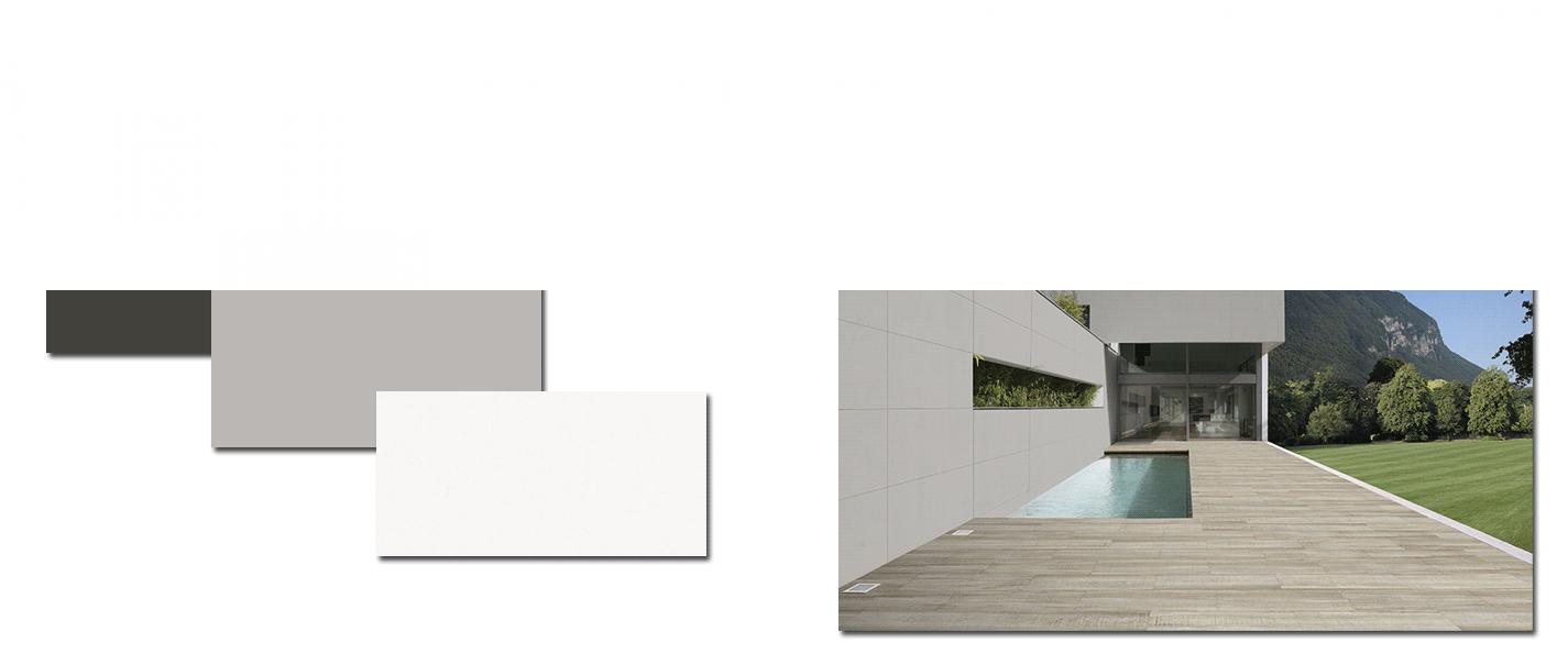 Pavimento gran formato porcelánico rectificado City white 60 x 120 cm. Una serie de pavimento o revestimiento ideal para fachadas o grandes espacios.