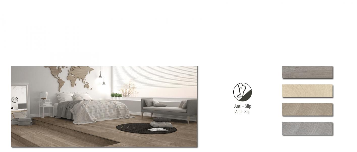 Porcelánico antideslizante imitación madera Ardennes 22,5x90 cm