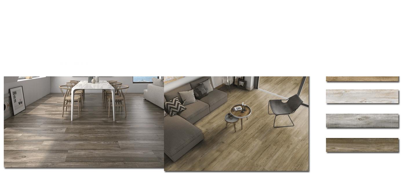 Pavimento porcelánico antideslizante imitación madera Bosco 23.3x120 cm