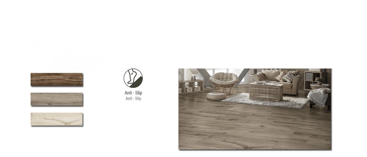 Porcelánico imitación madera antideslizante Sherwood 22,5x90 cm