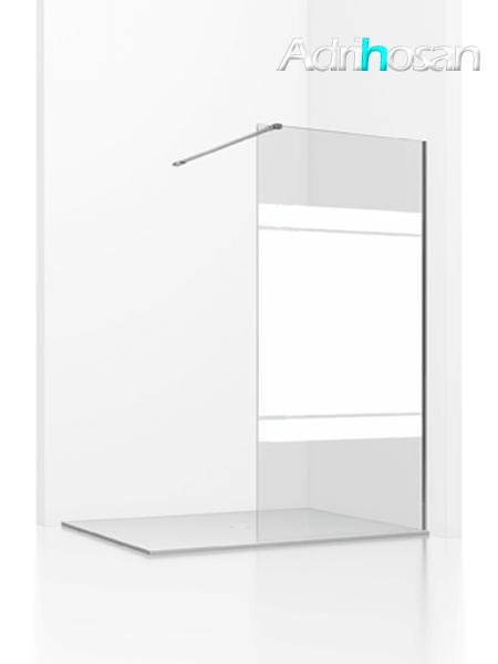 Fijo de ducha Aiki cristal serigrafía de 8 mm de 80 a 120 cm con antical