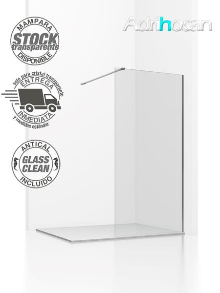 Fijo de ducha Aiki cristal transparente de 8 mm de 80 a 120 cm con antical