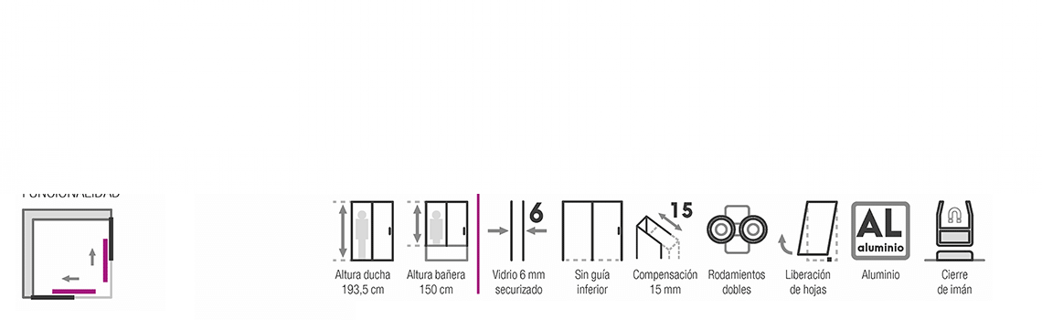 Mampara apertura al vértice Suez 2 fijos y dos correderas aluminio alto brillo