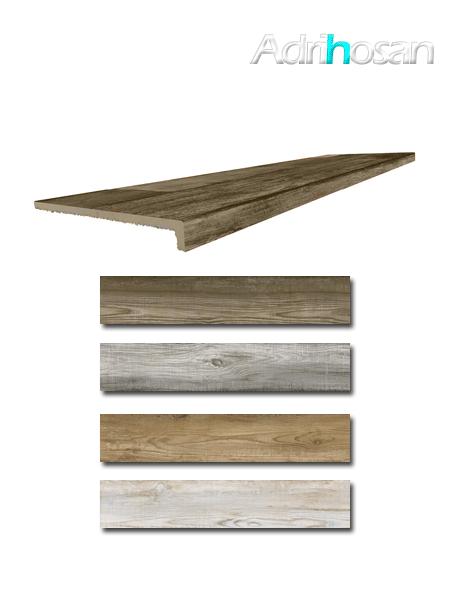 Peldaño técnico madera porcelánica Bosco 33x120 cm imitación madera