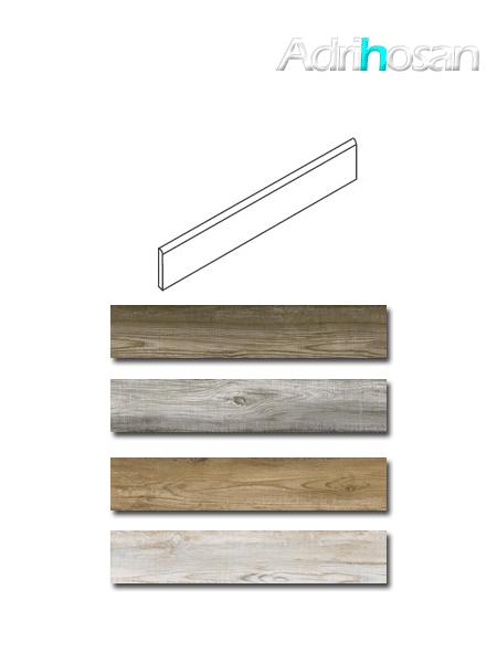 Rodapié madera porcelánica Bosco 7.5x60 cm imitación madera