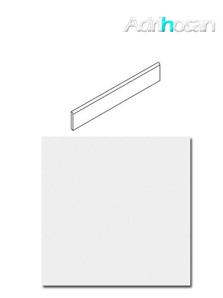 Rodapié canto romo blanco total brillo/mate porcelánico 10x60 cm