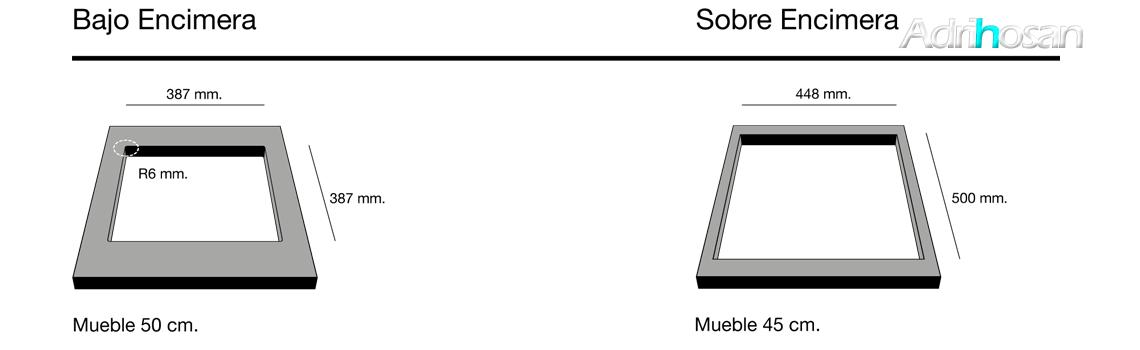 Fregadero de fibra Shira 501 brillo bajo o sobre encimera Poalgi Adrihosan