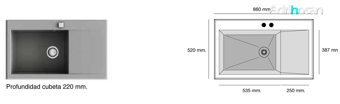 Fregadero de fibra Shira 503 brillo bajo o sobre encimera Poalgi Adrihosan