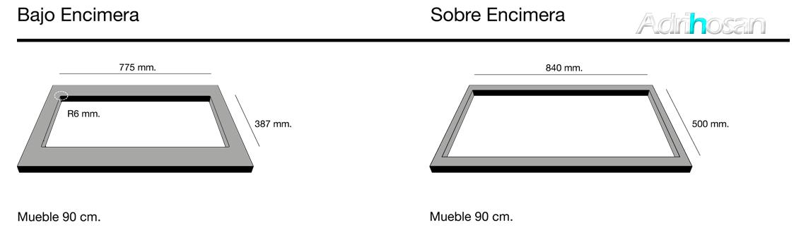 Fregadero de fibra Shira 504 brillo bajo o sobre encimera Poalgi Adrihosan