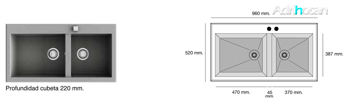 Fregadero de fibra Shira 505 brillo bajo o sobre encimera Poalgi Adrihosan