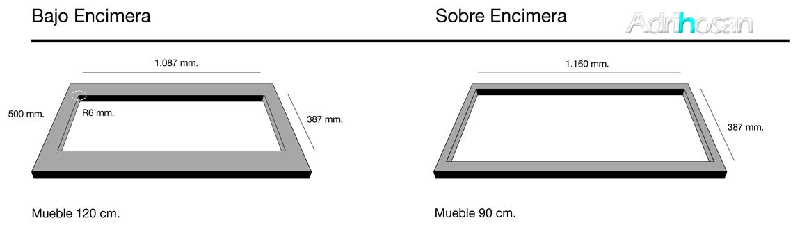 Fregadero de fibra Shira 507 brillo bajo o sobre encimera Poalgi Adrihosan