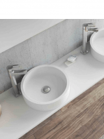 Lavabo Solid Surface circular Coso D30 x 9 cm blanco | Adrihosan