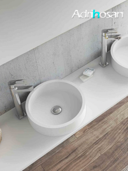 Lavabo Solid Surface circular Coso D30 x 9 cm blanco