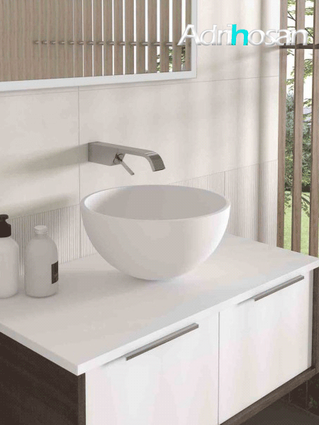 Lavabo Solid Surface tipo bol Fruit D36x19 cm blanco