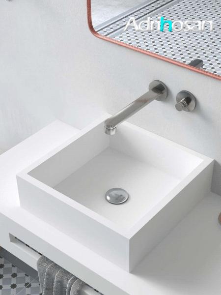 Lavabo Solid Surface Cuadrado Quadro 40x40x11.5 cm blanco