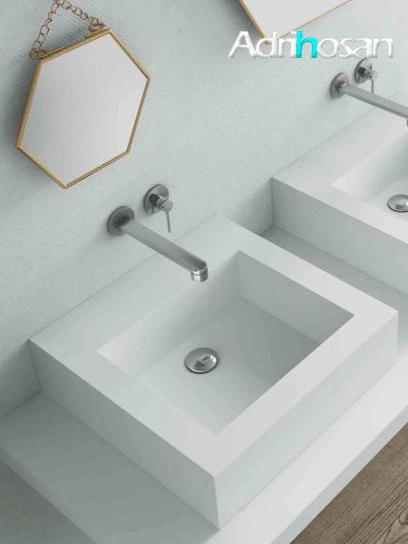 Lavabo Solid Surface Cuadrado Roma 48 x 48 x 14 cm blanco