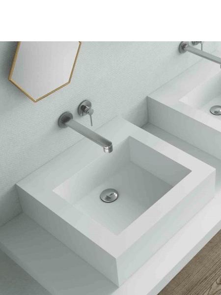 Lavabo Solid Surface Cuadrado Roma 48 x 48 x 14 cm blanco | Adrihosan