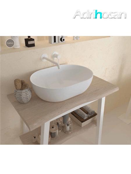 Lavabo Solid Surface ovalado Mónaco 475 x 340 x 150 cm blanco