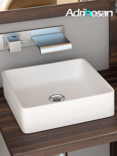 Lavabo Solid Surface rectangular Essenza 368 x 368 x 127 cm blanco