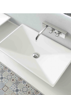 Lavabo Solid Surface rectangular Florida 70x40x10 cm blanco Adrihosan