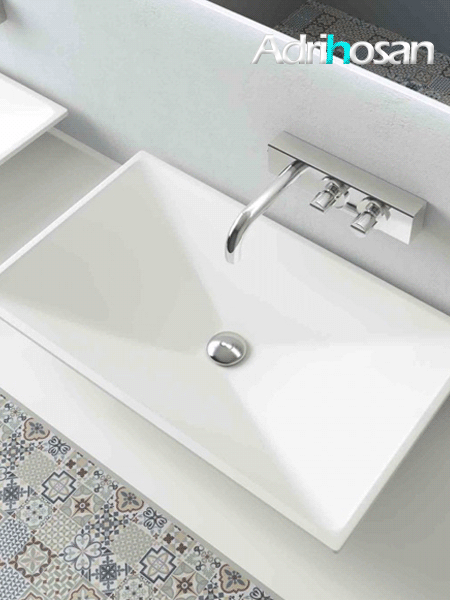Lavabo Solid Surface rectangular Florida 70x40x10 cm blanco