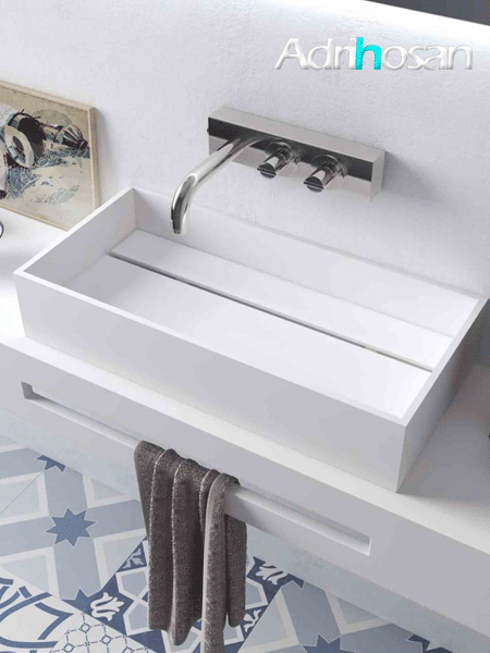 Lavabo Solid Surface rectangular Seatle 59 x 30 x 11.5 cm blanco