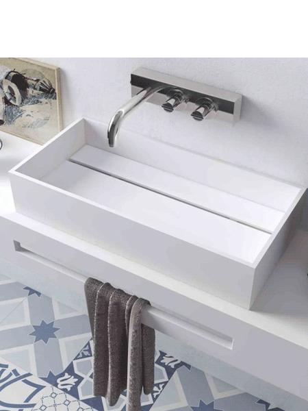 Lavabo Solid Surface rectangular Seatle 59 x 30 x 11.5 cm blanco | Adrihosan