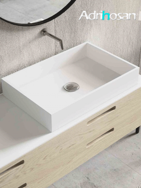 Lavabo Solid Surface rectangular Square 50x32x8 cm blanco