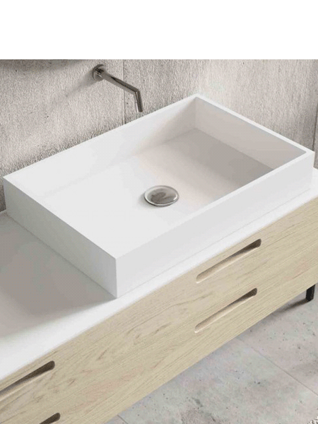 Lavabo Solid Surface rectangular Square 50x32x8 cm blanco | Adrihosan