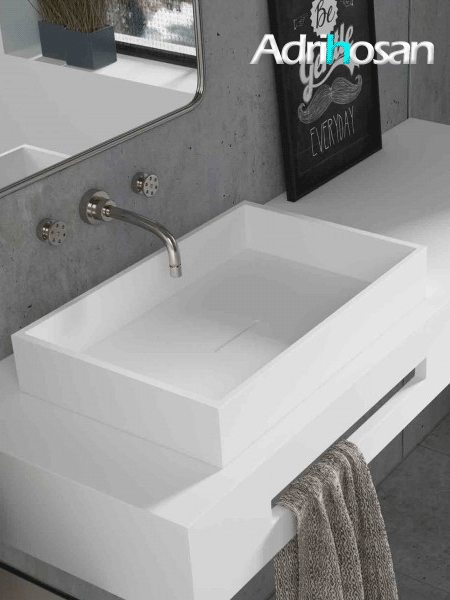 Lavabo Solid Surface rectangular Square Line 50x32x8 cm blanco
