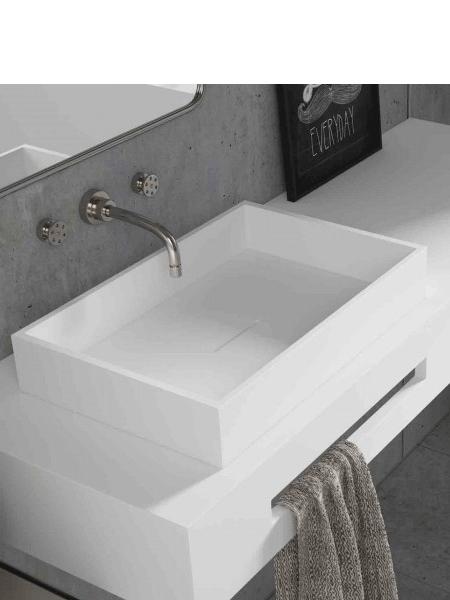 Lavabo Solid Surface rectangular Square Line 50x32x8 cm blanco Adrihosan