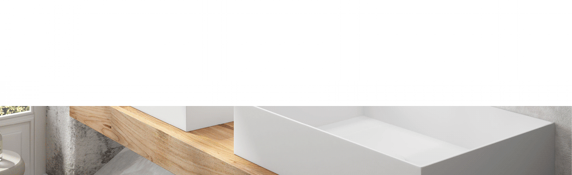 Lavabo Solid Surface rectangular Square Line 50x32x8 cm blanco Adrihosan