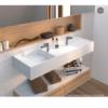Lavabo solid surface rectangular Vulcano 1200x450x150 cm blanco. Adrihosan