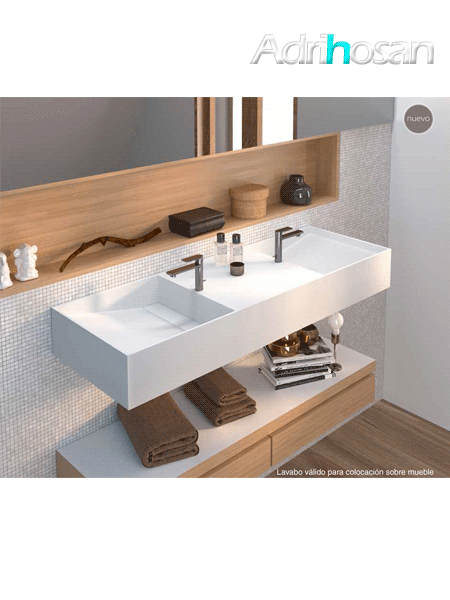 Lavabo Solid Surface rectangular Vulcano 1200x450x150 cm blanco