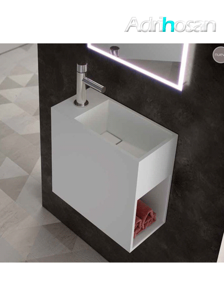 Lavabo Solid Surface rectangular Jazz 20x40x40 cm blanco