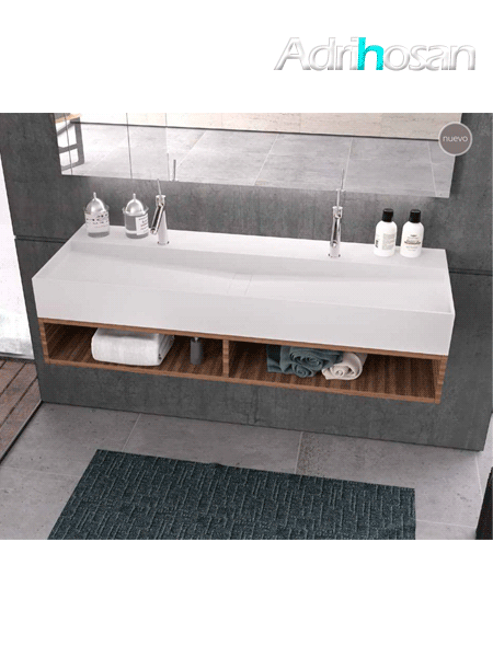 Lavabo Solid Surface rectangular New Irion 1410x460x150 cm blanco