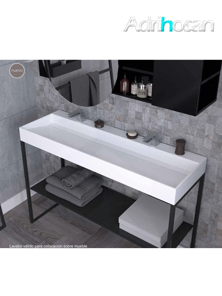 Lavabo Solid Surface rectangular Quarter Irion 1010x450x150 cm blanco