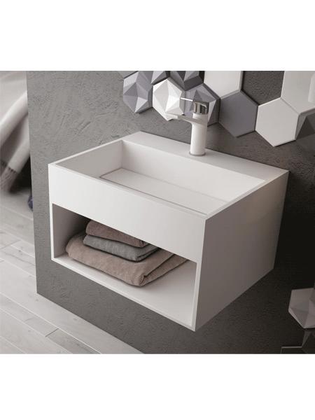 Lavabo Solid Surface rectangular Rock 50x40x40 cm blanco